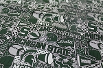 Cotton Michigan State University™ Spartans™ Pop Art College Cotton Fabric Print by the yard (mist1165)