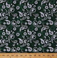 Cotton Michigan State University Paisleys Flowers Floral MSU Spartans Logos College Sports Team NCAA Green Cotton Fabric Print by the Yard (MIST1200)
