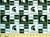 Cotton Michigan State University Spartans Dark Green College Cotton Fabric Print - smist020s