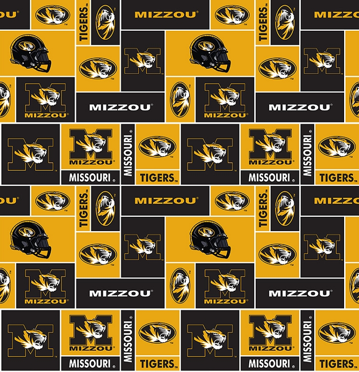 Fleece College University of Missouri Mizzo Tigers Fleece Fabric Print By Yard