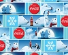 Coca-Cola Block Polar Bears Soda Pop Logo Blue Fleece Fabric Print by the Yard o1489s
