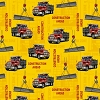 Fleece (not for masks) Construction Ahead Work Zone Construction Site Dump Trucks Cranes Hooks Vehicles Yellow Fleece Fabric Print by the Yard o38069-1b