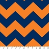 Fleece Chevron Blue / Orange Stripe Zig Zag Fleece Fabric Print (odt-3202-3a-19d)