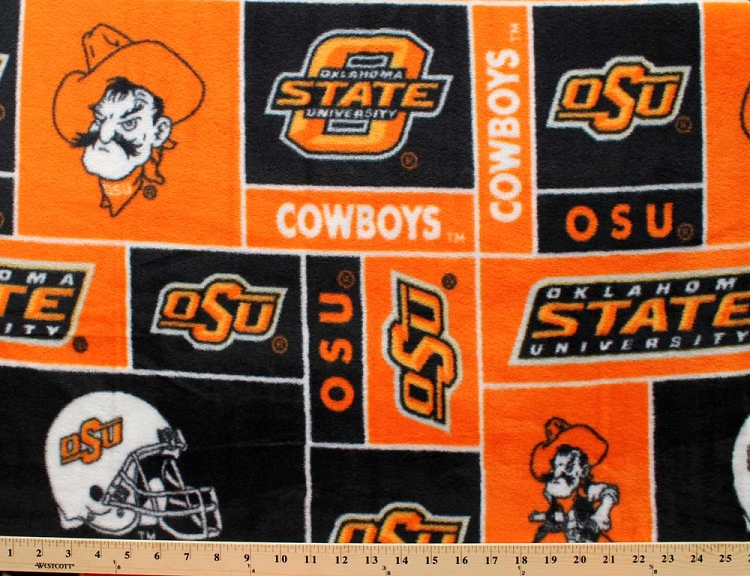 oklahoma state university cowboys college fleece fabric print