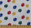 Multicolored Paws on White Animal Print Dogs Puppy Puppies Fleece Fabric Print by the Yard opawswhites