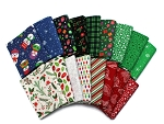 10 Fat Quarters - Assorted Patrick Lose Christmas Cheer Holidays Red Green White Quality Quilters Cotton Fabrics M222.18