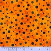 Dots Spots Black on Orange Who's Watching Faye Burgos Cotton Fabric Print (R25-0517-0128)