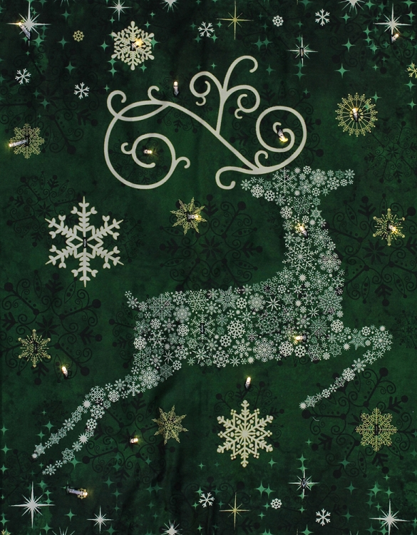Starry Night Christmas Reindeer Prance Holiday Quilt Wall