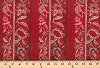 Fantasy Floral Paisley Stripe Stripes Burnt Ruby Cotton Fabric Print by the Yard