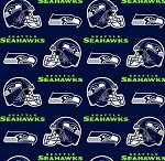 Fleece Seattle Seahawks Blue NFL Football Fleece Fabric Print by the yard (s6400df)