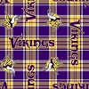 Fleece Minnesota Vikings Plaid NFL Football Fleece Fabric Print by the yard (s6437df)