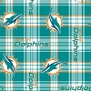 Fleece Miami Dolphins NFL Football Plaid Fleece Fabric Print by the yard (s6448df)