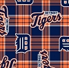Detroit Tigers MLB Baseball Plaid Fleece Fabric Print