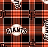 Fleece (not for masks) San Francisco Giants MLB Baseball Plaid Fleece Fabric Print by the yard