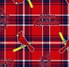 Fleece (not for masks) St. Louis Cardinals MLB Baseball Plaid Fleece Fabric Print by the yard