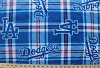 **Imperfect** - Los Angeles Dodgers Plaid MLB Baseball Fleece Fabric Print By the (s6618bf)