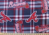 Fleece (not for masks) Atlanta Braves Plaid MLB Baseball Fleece Fabric Print by the yard