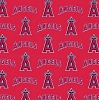 Cotton Los Angeles Angels of Anaheim on Red MLB Baseball Sports Team Cotton Fabric Print by the Yard