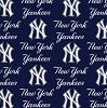 Cotton New York Yankees on Blue MLB Baseball Sports Team Cotton Fabric Print by the Yard