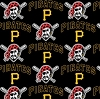 Cotton Pittsburgh Pirates on Black MLB Baseball Sports Team Cotton Fabric Print by the Yard