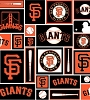 Cotton San Francisco Giants Squares MLB Baseball Sports Team Cotton Fabric Print by the Yard