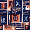 Cotton Detroit Tigers Squares MLB Baseball Sports Team Cotton Fabric Print by the Yard