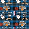 Fleece New York Knicks Plaid NBA Basketball Pro Sports Team Fleece Fabric Print by the yard (s82nyk00005ac)