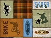 Cotton Bikers Bikes Skateboarders Skateboard Patches Extreme Sports Cotton Fabric Print by the Yard (1649-45792-HS)