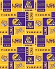 LSU, Louisiana State University™ Tigers™ College Fleece Fabric Print