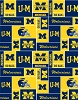 Fleece (not for masks) University of Michigan Wolverines squares All-over College Fleece Fabric Print by the yard