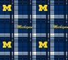 University of Michigan™ Wolverines™ Plaid Design College Fleece Fabric Print