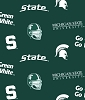 Michigan State University Spartans on Green Dark Green College Cotton Fabric Print