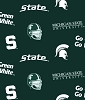 Fleece (not for masks) Michigan State University Spartans Dark Green Helmets All-over College Fleece Fabric by the yard