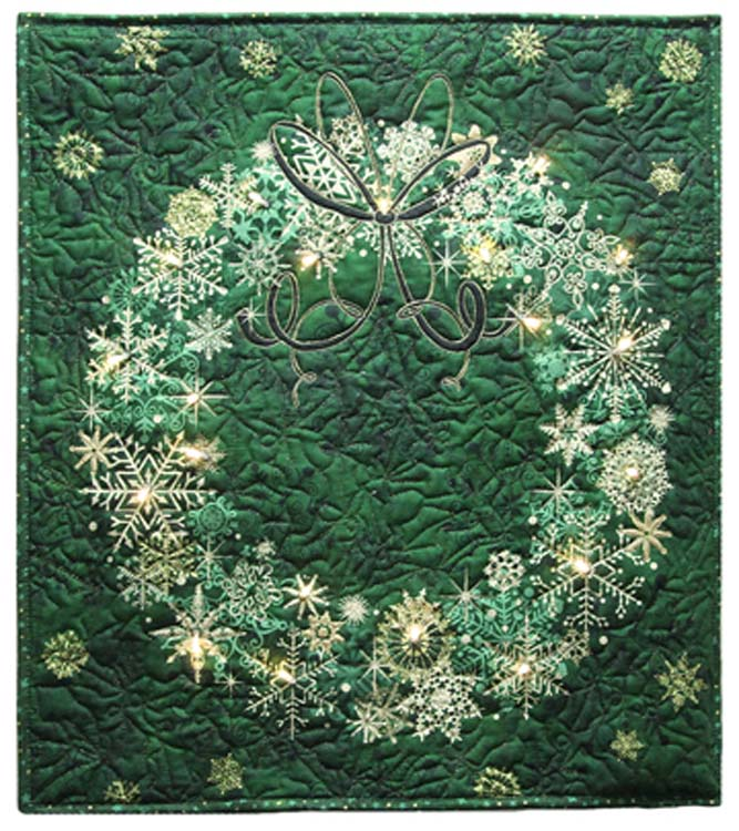 Starry Night Wreath Panel Holidays Christmas Quilt Wall