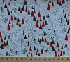Cotton Christmas Time Trees Ice Skates Figure Skaters White Cotton Fabric Print by the Yard (stella-98-white)