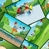 Sand-trapped Packed Golfer Cards Cart Club Cartoon Cotton Fabric Print (Q1090-83033-774W)