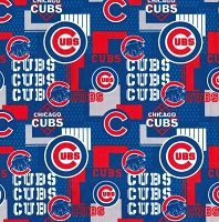Cotton Chicago Cubs Patch Logos Blue MLB Pro Baseball Sports Team Cotton Fabric Print by the Yard (14544b)