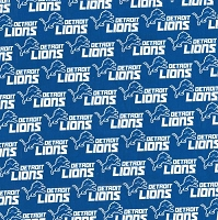 Cotton Detroit Lions Logo NFL Pro Football Sports Team Blue Cotton Fabric Print by the Yard (14727D)