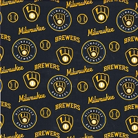 Cotton Milwaukee Brewers MLB Baseball Sports Team Cotton Fabric Print by the Yard