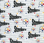 Cotton Pittsburgh Steelers White NFL Pro Football Cotton Fabric Print by the yard (6034w)