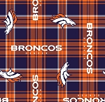 Fleece Denver Broncos Plaid NFL Football Fleece Fabric Print by the yard (s6432df)