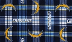 Fleece Los Angeles Chargers Plaid NFL Football Fleece Fabric Print by the yard (s6443df)