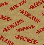 San Francisco 49ers NFL Football Sports Team Burlap Fabric Print by the Yard (6498-D)