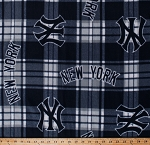 Fleece (not for masks) New York Yankees MLB Baseball Plaid Fleece Fabric Print by the Yard (s6605bf)