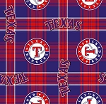 Fleece (not for masks) Texas Rangers Plaid MLB Baseball Sports Team Fleece Fabric Print by the yard