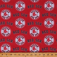 Cotton Boston Red Sox on Red MLB Baseball Sports Team Cotton Fabric Print by the Yard