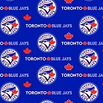 Cotton Toronto Blue Jays Blue MLB Baseball Sports Team Canada Cotton Fabric Print by the Yard (s6676bf)