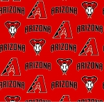 Cotton Arizona Diamondbacks on Red MLB Baseball Sports Team Cotton Fabric Print by the Yard