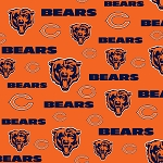 Fleece Chicago Bears Orange NFL Pro Football Sports Team Fleece Fabric Print by the Yard (s6712df)