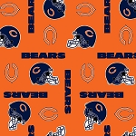 Cotton Chicago Bears Orange NFL Pro Football Cotton Fabric Print